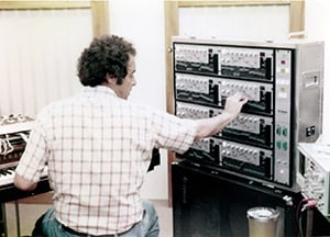 photo:Dr. Chowning, of Stanford University, using a GS1 voice programmer to create sounds