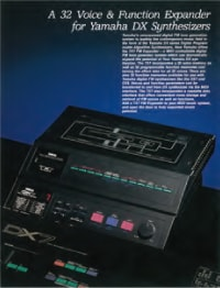 photo:From the TX7 catalog (English). Here the TX7 is shown attached to a DX7.